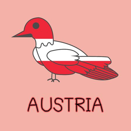 Color Imitation of Austria Flag with Barn Swallow, National Animal