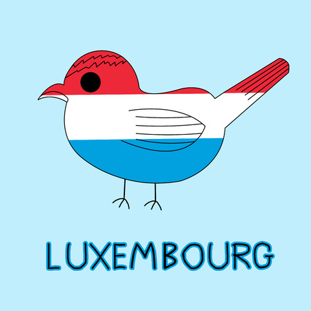 Color Imitation of Luxembourg Flag with Goldcrest, National Animal Banco de Imagens