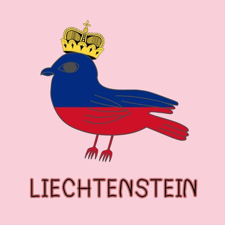Color Imitation of Liechtenstein Flag with Kestrel, National Animal