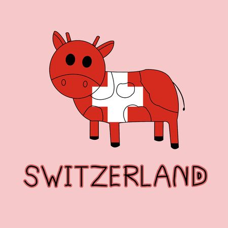 Color Imitation of Switzerland Flag with Cow, National Animal Banco de Imagens