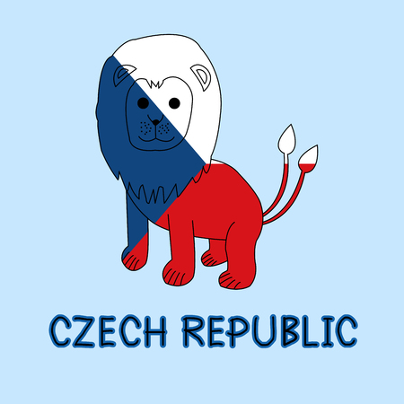 Color Imitation of Czech Republic Flag with Double Tailed Lion, National Animal