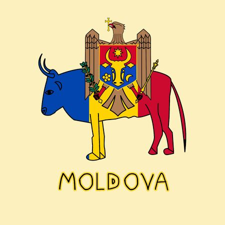 Color Imitation of Moldova Flag with Aurochs, National Animal