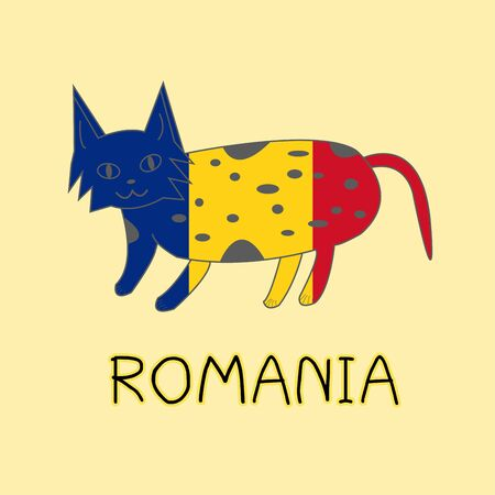 Color Imitation of Romania Flag with Lynx, National Animal Banco de Imagens