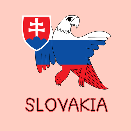 Color Imitation of Slovakia Flag with Eagle, Famous Animal