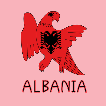 Color Imitation of Albania Flag with Eagle, National Animal