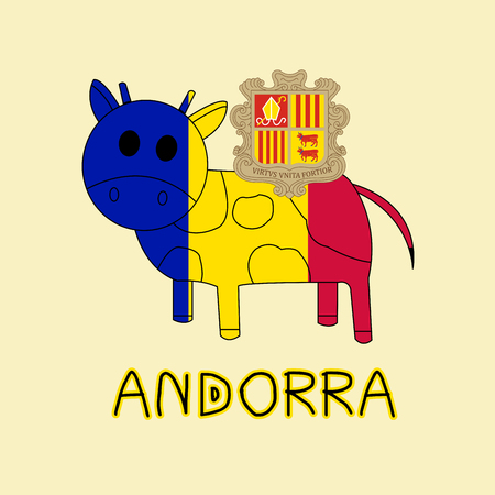 Color Imitation of Andorra Flag with Cow, National Animal Banco de Imagens