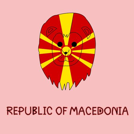Color Imitation of Republic of Macedonia Flag with Lion, National Animal