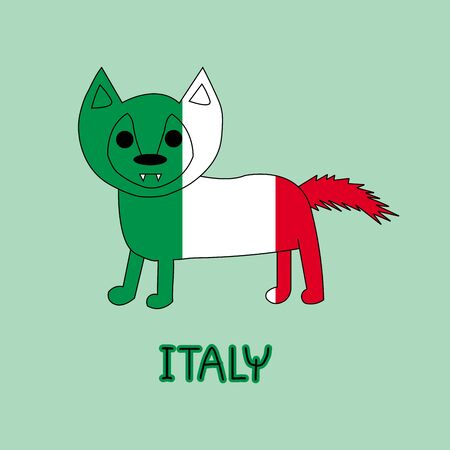 Color Imitation of Italy Flag with Wolf, National Animal Stock Photo