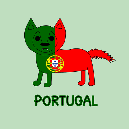 Color Imitation of Portugal Flag with Wolf, National Animal
