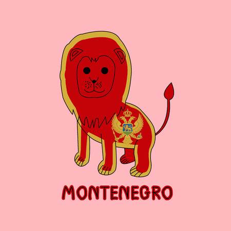 Color Imitation of Montenegro Flag with Lion, National Animal Stock Photo