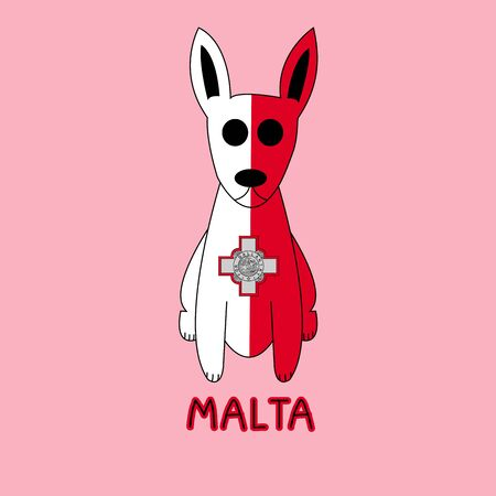 Color Imitation of Malta Flag with Pharaoh Hound, National Animal Stock Photo