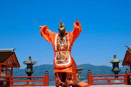 Buddhism that fuses traditional gagaku and dancing transmitted to Miyajima in Hiroshima. Editorial
