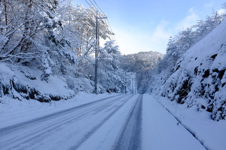 The frozen countryside in Hiroshima Prefecture road