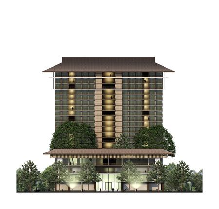 architecture: Building Elevation, architecture, hotel