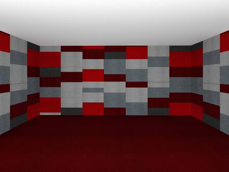 carpet floor: Red Wall and Carpet Floor. 3D Rendering. Mock up Stock Photo