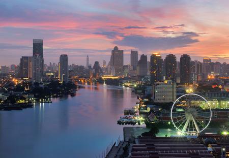 The Ferris Wheel in Bangkok, Asiatique The Riverfront in Bangkok, Chao Phraya River, Thailand