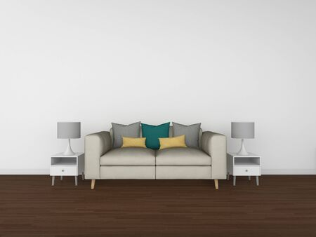 penthouse: 3D Rendering living room isolated on white background, interior illustration Stock Photo
