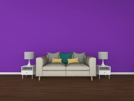 penthouse: 3D Rendering living room isolated on colorful background, interior illustration