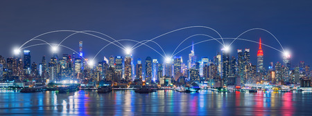 Network and Connection Technology Concept of Skyline of New York City,Skyscrapers, downtown, USA Banco de Imagens - 72124742