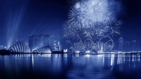 Fireworks in Marina bay, Singapore
