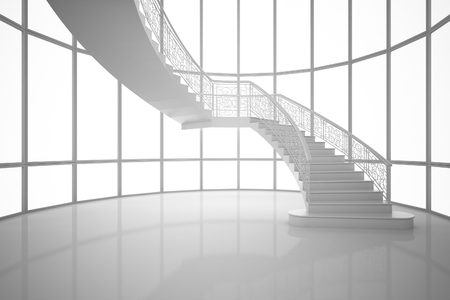 3D Rendering white curved staircase in a house, interior illustration, mock up Stock Photo