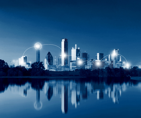 Network and Connection Technology Concept of Dallas Skyline Reflection at Dawn, Downtown Dallas, Texas, USA Stock fotó