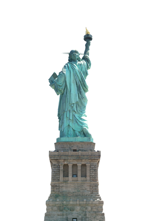 The Back of Statue of Liberty isolated on on white clipping path inside Stock Photo