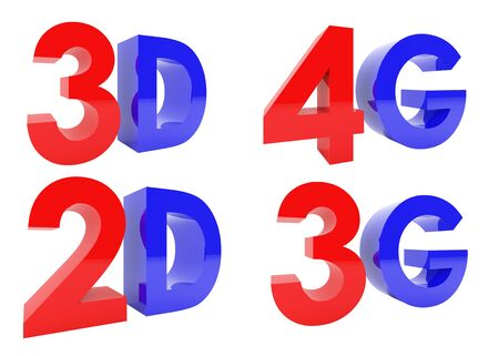 3D Rendering of 3D, 2D, 4G, 3G text isolated on white background, clipping path inside Stock Photo