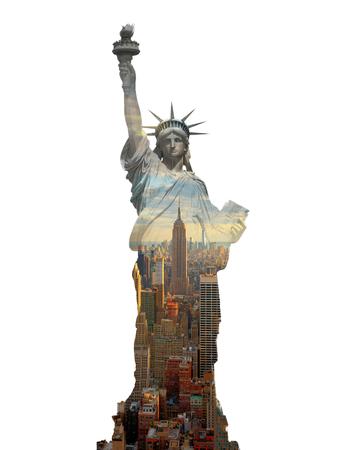 Double exposition statue de la liberté et de new york city, USA