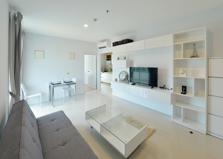 luxury living room: white luxury modern living interior and decoration, interior design Stock Photo