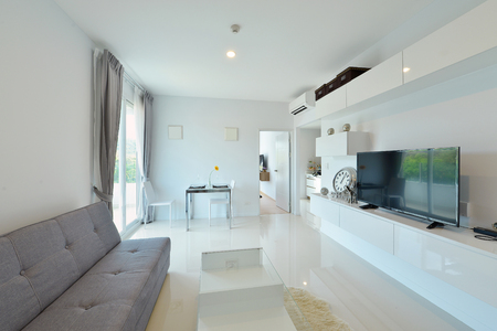 luxury house: white luxury modern living interior and decoration, interior design Stock Photo