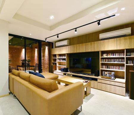 Loft style luxury modern living interior and decoration, interior design Editorial