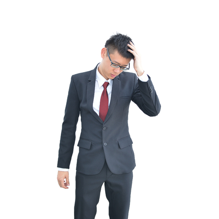 Asian Business man has headache isolated on white background, clipping path inside