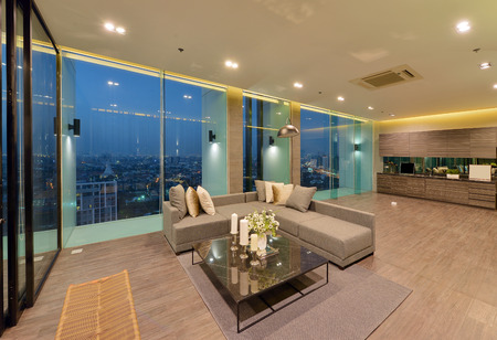 luxury modern living room interior and decoration at night, interior design