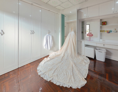 Bride wedding dress in a white room, interior design Stock Photo