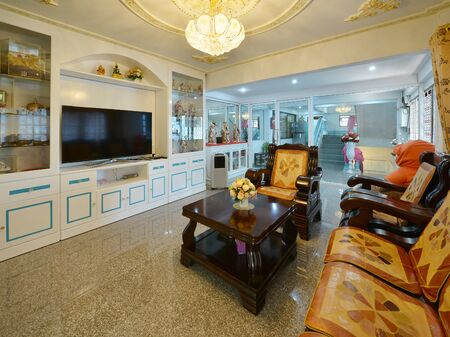 Elegant Oriental Classic Vintage Chinese Living Room, Interior Design Stock  Photo   94015782