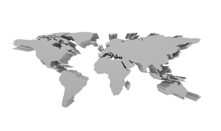 Grey Political World Map Isolated On White, 3d Perspective ...