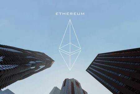 Ethereum  . Icon cryptocurrency and background of business buildings with copy space Archivio Fotografico