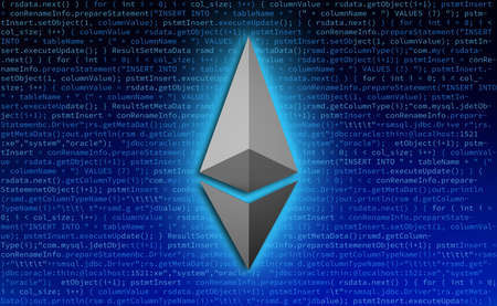 Ethereum symbol icon with code for technology background