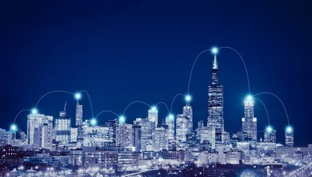 Network connection and global business  concept in Chicago City, Illinois, USA Stock Photo