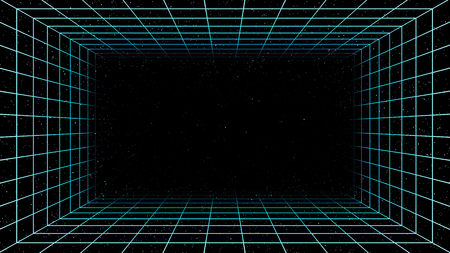 Virtual cyberspace reality room with stars on black background, 3d illustration