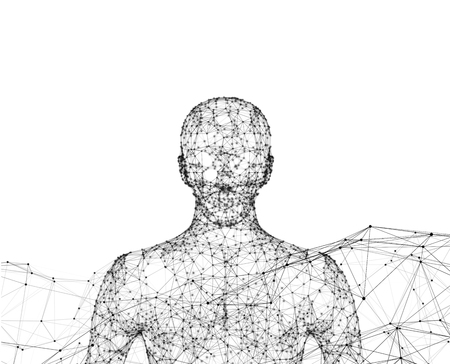 Human. Wireframe model with connection lines on white background, artificial intelligence in futuristic technology concept, 3d illustration Фото со стока - 100743808