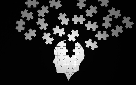 White jigsaw puzzle as a human brain on black. Concept for Alzheimers disease. 3d illustration Stock Photo
