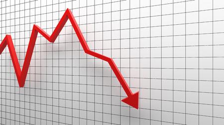 Fallimento, freccia rossa che scende su sfondo bianco nel concetto di affari. Illustrazione 3D