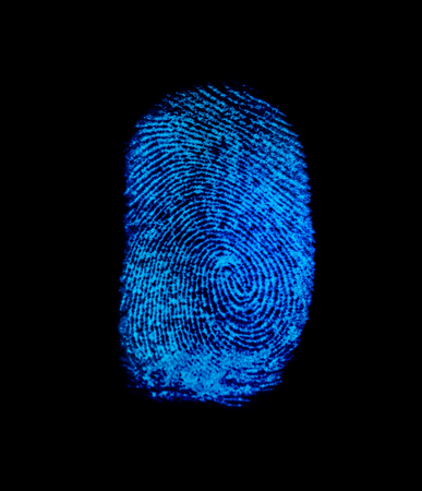 Blue fingerprint identification symbol isolated on black background in technology concept Stock Photo