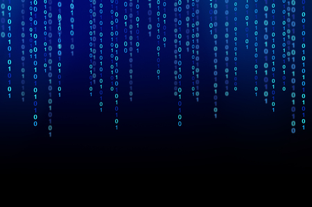 01 or binary data on the computer screen isolated on black background, 3d illustration 写真素材