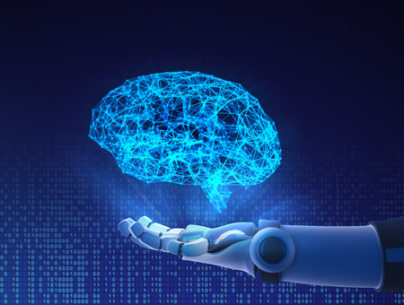 Robot hand holding virtual brain. Artificial intelligence in futuristic technology concept, 3d illustration Stock Photo