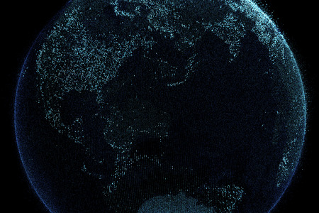 Planet earth in digital network connection, Internet concept of global business, 3d illustration Stock Photo