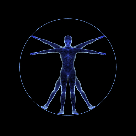 A human figure like Leonard Da Vinci s Virtual man in anatomy concept isolated on black background. 3d illustration Stock Photo