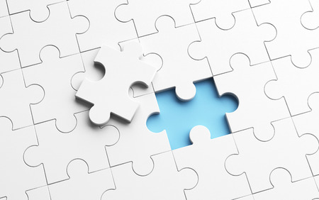 Putting the last piece of jigsaw puzzle to complete work in business concept. 3d illustration